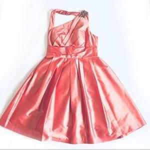 Kay Unger Halter Silk Pink Cocktail Dress Size 10